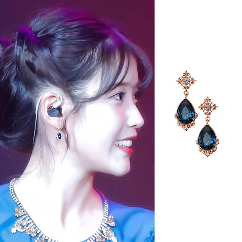 Pendientes coreanos con colgantes de cristal azul para mujer, aretes, aretes, estrella de TV, 2019