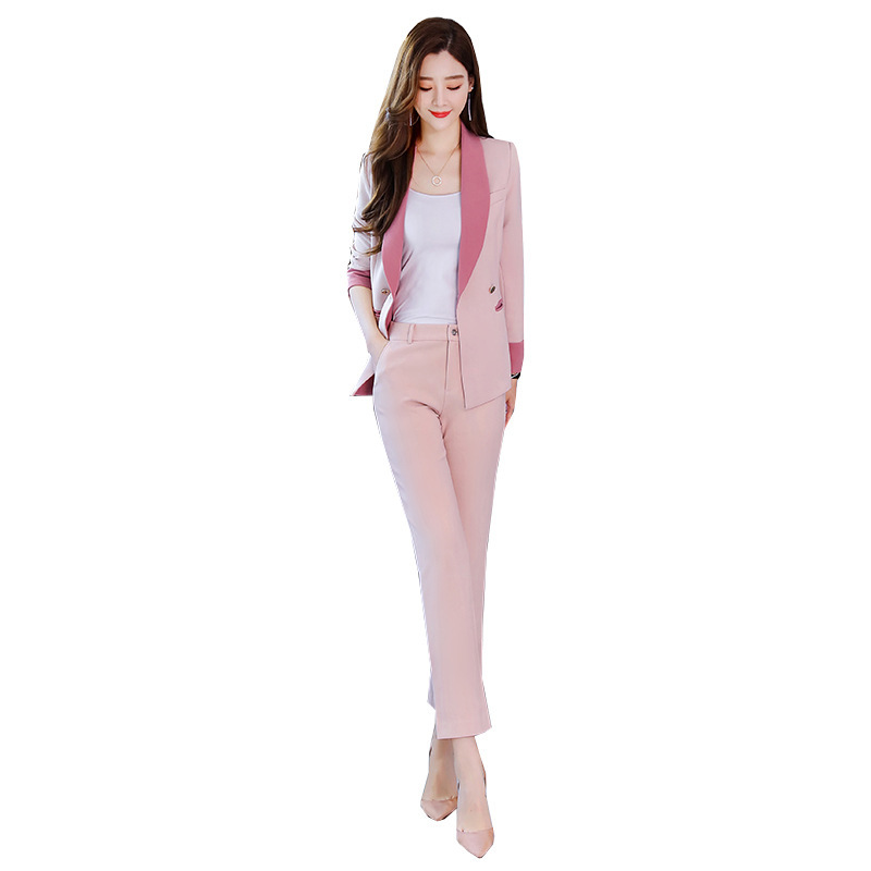 Business women's suits pants suit high quality 2019 new autumn slim long-sleeved pink blazer female Office long sleeve two-piece 33