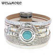 Wellmore женский браслет модные кожаные браслеты в стиле бохо