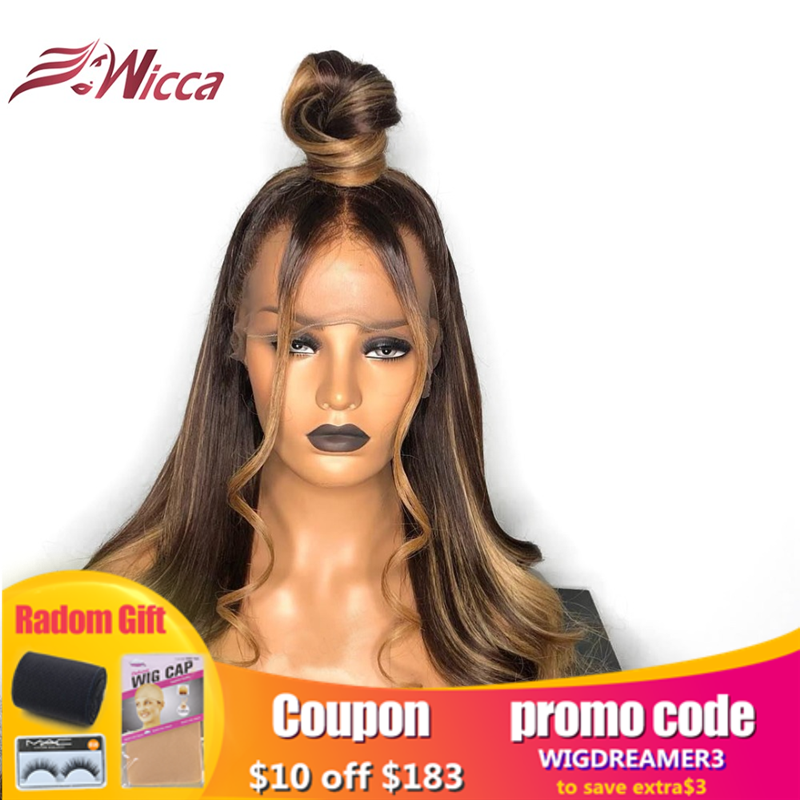 Wicca 13X6Lace Front Human Hair Wigs With Baby Hair Wavy Pre Plucked Ombre Color Brazilian Remy Hair Wigs For Women Bleach Knots