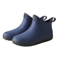 2019 Fashion Men Rubber Rain Shoes Slip On Waterproof Low Heel PVC Rain Boots Ankle Boot Solid Color Large Size 39 44 BS88