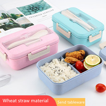 Microwave Lunch Box Children Kids School Office Portable Bento Box Wheat Straw Dinnerware Food Storage Container