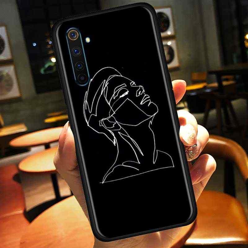 ファッション恋人顔アート抽象ラインrealmeためX50プロ5グラムX2 5 6プロxt c3 5i 6i narzo 10 10Aケースシェル