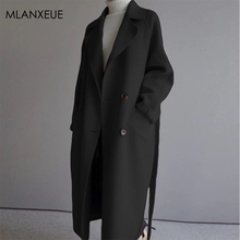 Winter Sashes Long Cashmere Coats Women Solid Lace-Up Loose Wool Blende