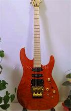 Guitarra Eléctrica de color naranja personalizada de fábrica con Floyd Rose 3 pastillas pecado entramado... herrajes dorados... chapa de