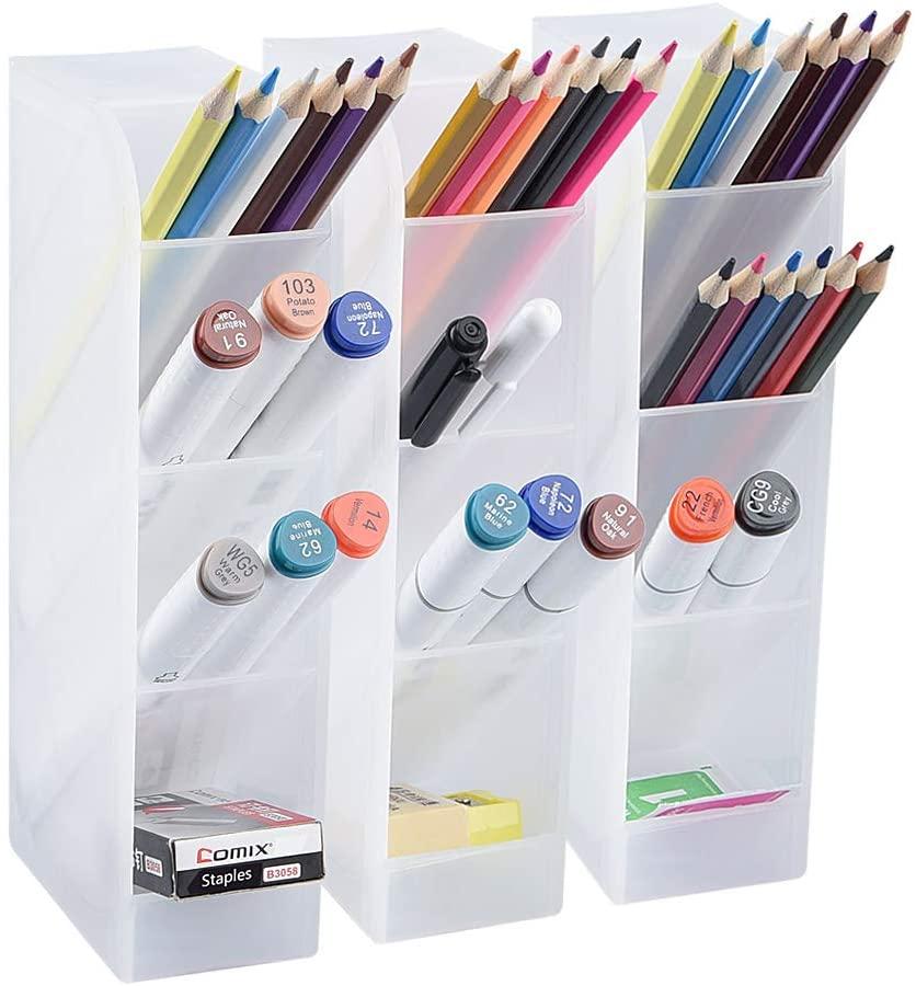 Big Desk Organizer Pen Organizer Storage For Office School Home Supplies Translucent White Pen Storage Holder High Capacity