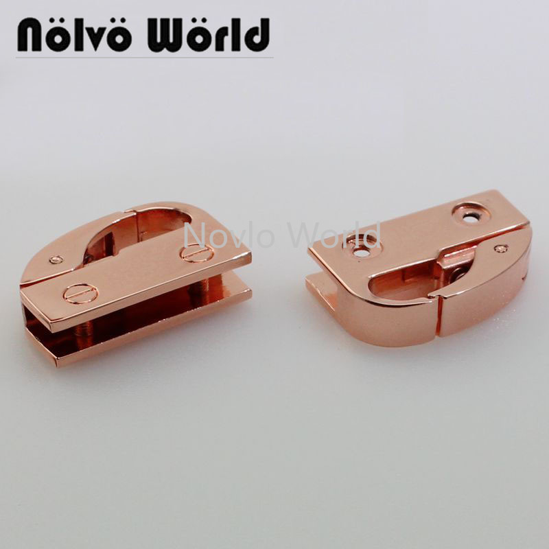 Wholesale 500pcs,33*10mm 3/8 Inch, Rose Gold High Quality Metal Side Clip Buckle Handbag Hanging Hook Strap Chain Diy Accessory