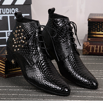 black Bright skin leather mens boots chelsea fashion shoes rivet High quality men's Boots Formal Lace up pointed shoes