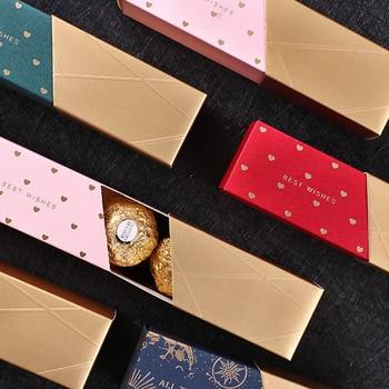 Caja de dulces de Chocolate de bronce, 10 Uds., regalo de boda, lápiz labial Bonbon, modelado Rectangular, regalo para fiesta de cumpleaños