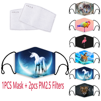 Kpop Adult Protective Mask 3D Printed Fabric Face Cover Washable PM 2.5 Filter Anti Dust Anti Droplet Mouth-muffle for Women Men