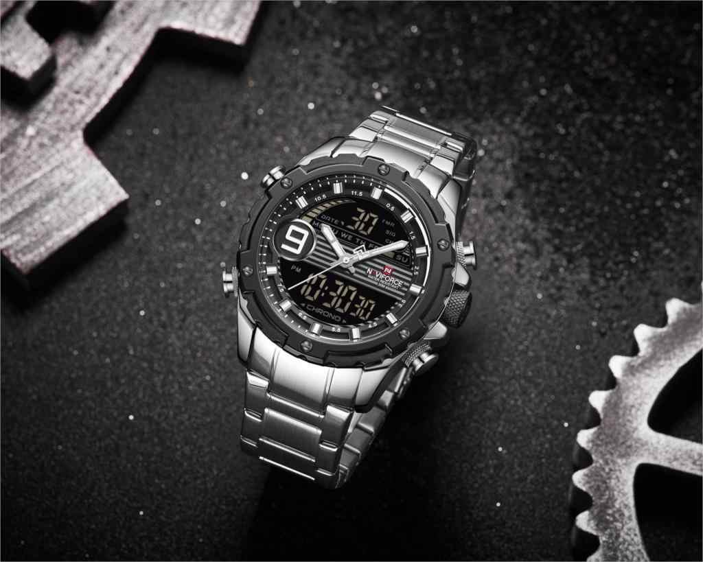 NAVIFORCE Брендовые мужские часы модные спортивные часы с хронографом Аналоговые Цифровые 3ATM водонепроницаемые наручные часы с двойным дисплеем кварцевые часы