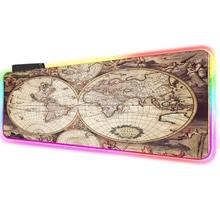 Игровой коврик для мыши РГБ старая карта мира искрящийся свет клавиатуры коврики для мыши коврики настольные USB-кабель 3мм/4мм большой
