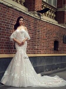Image 5 - Liyuke Fabulous Dropped Waistline Mermaid Wedding Dress Court Train Inner Champagne Off The Shoulder Bridal Dresses