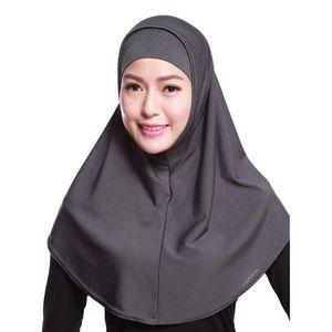 Image 2 - Женский однотонный мусульманский хиджаб Amira из 2 предметов, мягкий хлопковый эластичный головной шарф с внутренней трубкой, капюшон