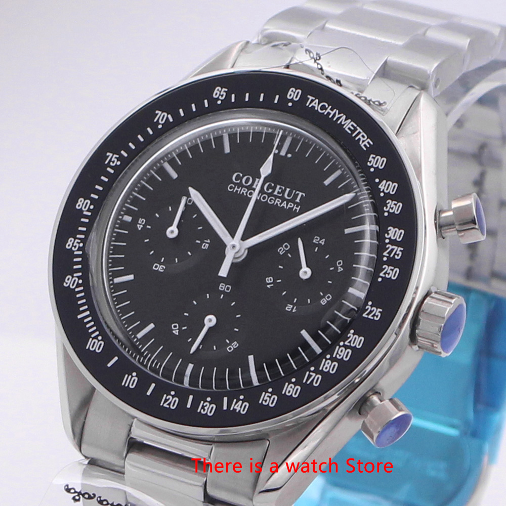 Corgeut 40mm Quartz Men Watch Sport 24 hours Multifunction Chronograph Clock Stainless Steel Business Watch Men 3022