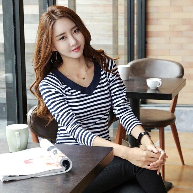 T Shirt Women 2019 Autumn New T-Shirt Women's Tops Tee Long Sleeve Tshirt Striped Female Shirt Fashion Femme Top Shirts 7537 50