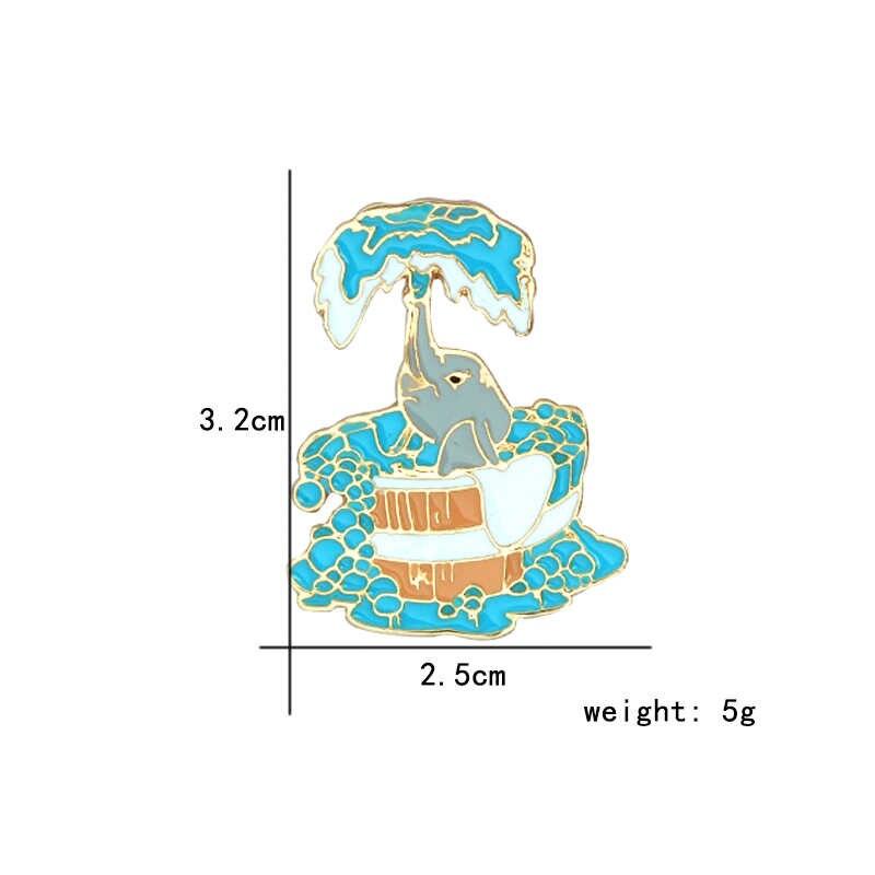 Kartun Senyum Lucu Biru Gajah Semprot Mandi Bros Enamel Kerah Pin Perhiasan Bros Tombol Tas Ransel Pin untuk Wanita