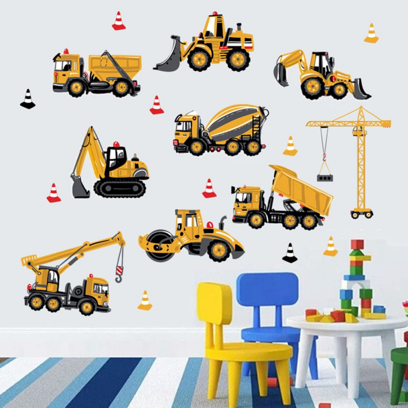 Cartoon DIY Wall Stickers Transport Cars Truck Digger wallpaper For Kids Rooms Home Decor Boys Room Decoration Art Wall Poster*#