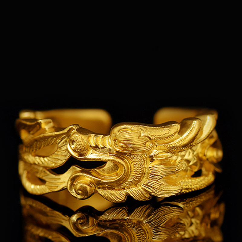 China Myth Dragon Opening Ring Antiques Gold Color LUCKY DRAGON Rings for Men Women Jewelry Birthday Christmas Gift(China)