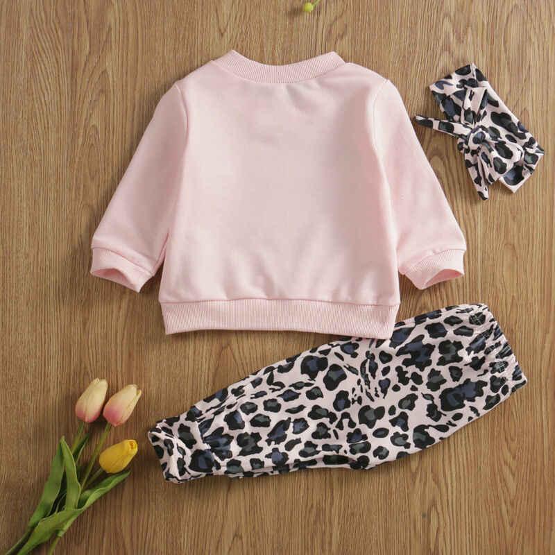 新生児ガール服セット 3 個レオパードプリント Tシャツトップパンツカチューシャドレス服 0-24M