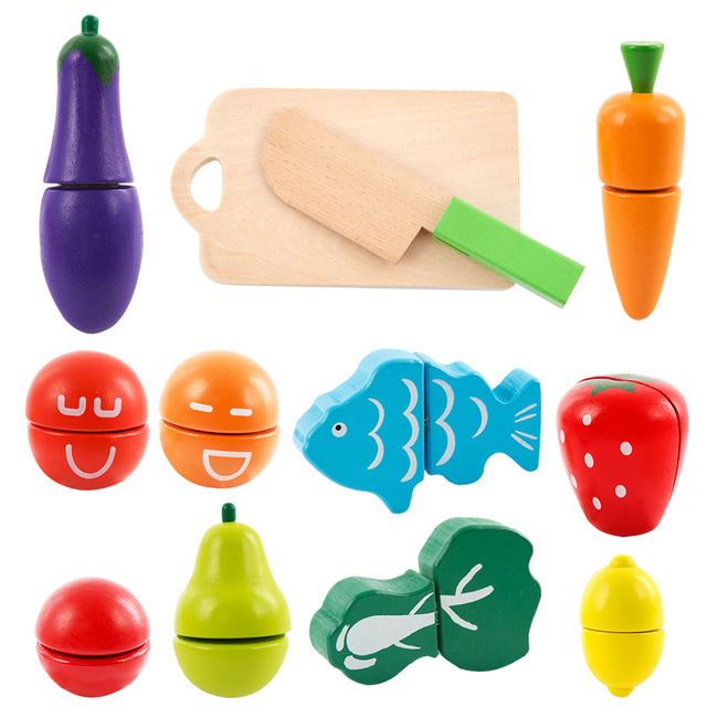 Velcro Wooden Fruit and Vegetable Combination Cutting Toys Set Children Simulation Pretend Play Kitchen Game Kids Birthday Gift