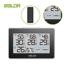 محطة الطقس اللاسلكية شاشة تعمل باللمس LCD ميزان الحرارة الرقمي الرطوبة 3 مستشعر عن بعد المنزل C/F مقياس الرطوبة درجة حرارة البيانات