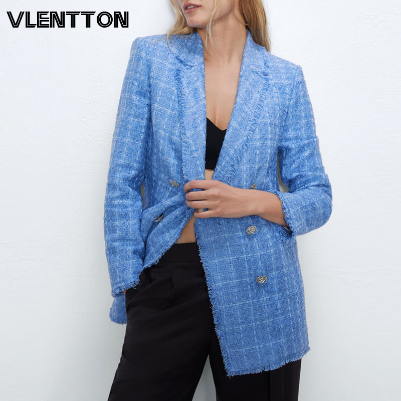 2020 Spring Autumn Vintage Plaid Tweed Blazers Jackets Women Chic Button Long Suit Coat Female Tops Office Ladies Blazer Mujer