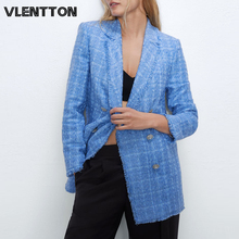 2020 Spring Autumn Vintage Plaid Tweed Blazers Jackets Women Chic Button Long Su
