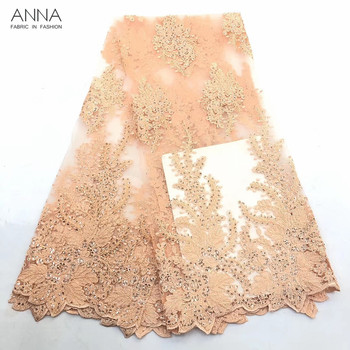 Anna latest orange nigerian tulle lace with sequins african net laces fabric 2019 high quality embroidery fabrics for sewing