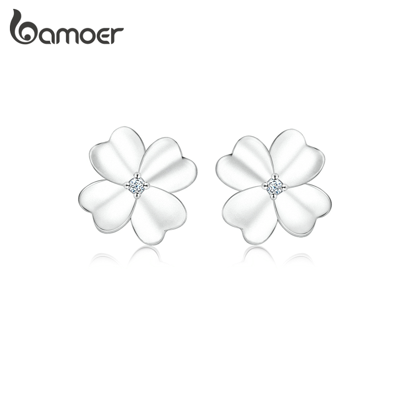Bamoer Flower Clover Stud Earrings For Women 925 Sterling Silver Fine Jewelry Gifts Anti-allergy Ear Pins For Girl SCE864