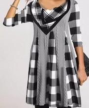 Robe Maxi à carreaux pour femmes, automne et hiver, Patchwork imprimé, manches 3/4, col rond, non défini, Eam