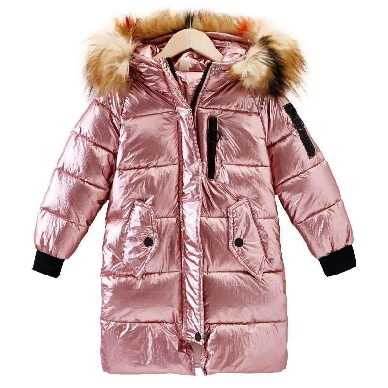 2019 г. Новое Детское длинное стеганое зимнее пальто с натуральным мехом для девочек детское зимнее пальто детское теплое пуховое пальто с меховым утеплителем и капюшоном