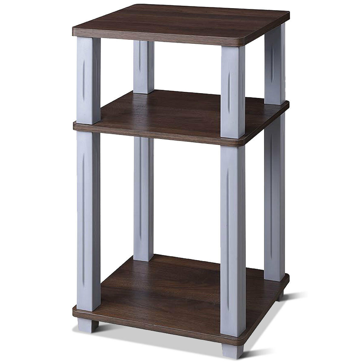 Costway 3-Tier Square Storage Shelves End Table Night Stand Display Living Room Walnut