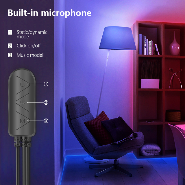 LED Strip Light RGB 5050 Lights  Music Sync Color Changing Built-in Mic, App Controlled LED Lights Rope Lights 5M 10M 20M 6