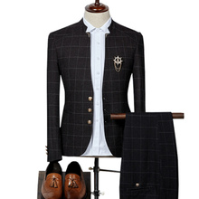 (Blazer + Broek) mode Stand Kraag Men's Plate Pak Set English Slim Party Dress Stalknecht Pak High End Plus Size 3XL Suits