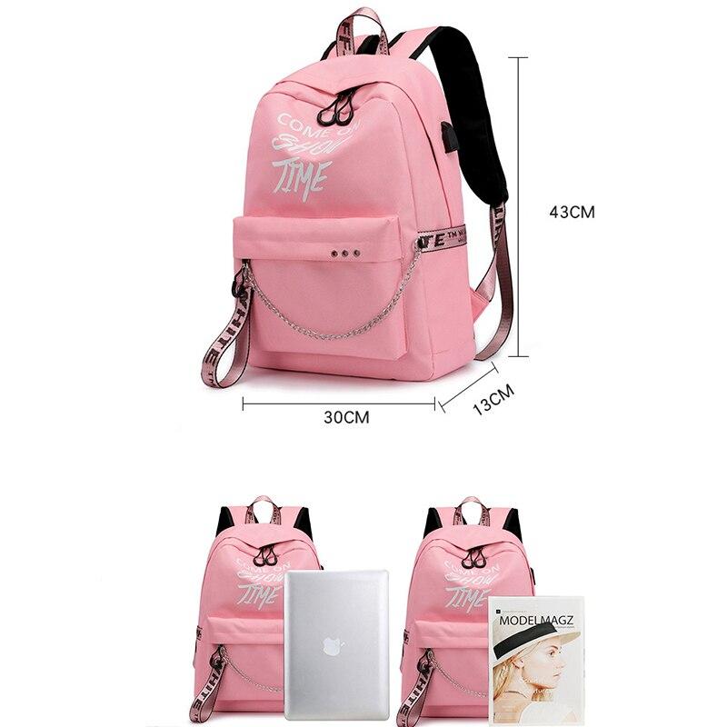 USB Charging Luminous Chain Nylon female book bag backpack schoolbag school bag travel pack fashion women teenage teenagers girl