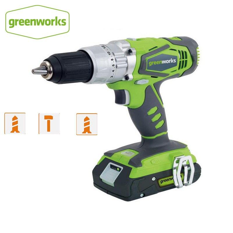 Greenworks 24 В двойная скорость Электрический шуруповерт 60н. М ударная Аккумуляторная дрель Аккумуляторные Бытовые электроинструменты