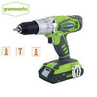 Greenworks 24V Doppel Geschwindigkeit Elektrische Screwdrvier 60N. m Auswirkungen Akku bohrschrauber Wiederaufladbare Haushalt Power Tools-in Elektrische Bohrmaschinen aus Werkzeug bei