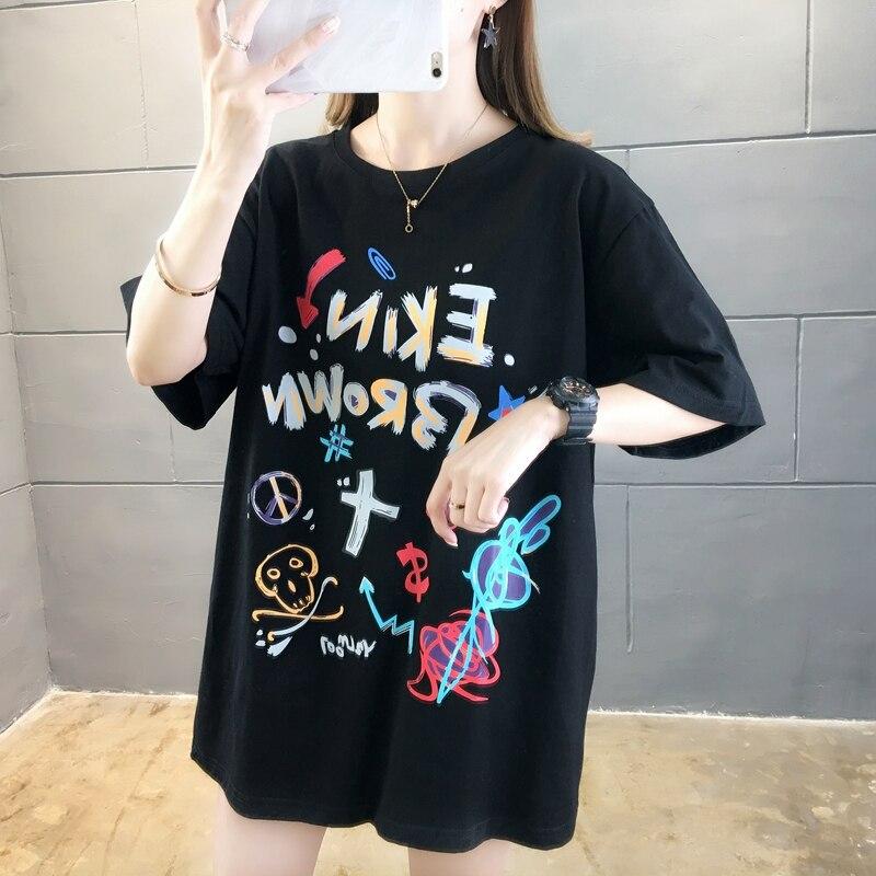 Купить футболка женская оверсайз с коротким рукавом топ круглым вырезом