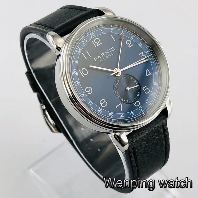 New Parnis 42mm silver case blue dial GMT arab mark date window leather  strap mens top leisure automatic mechanical watch