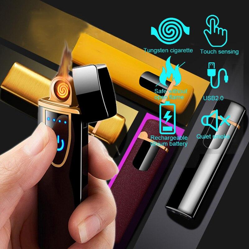 USB перезаряжаемая электрическая зажигалка для сенсорной индукции, ветрозащитная беспламенная сигарета, металлическая умная двухсторонняя...