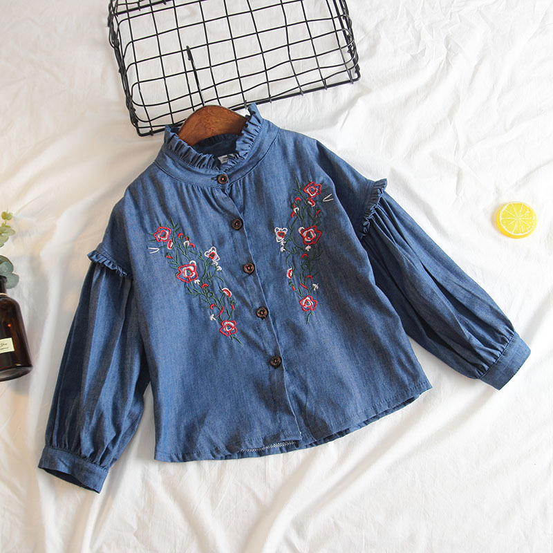 Childrenswear Korean-style Girls Soft Denim Shirt Fashion Lantern Sleeve Flounced Stand Collar Embroidered Shirt Coat