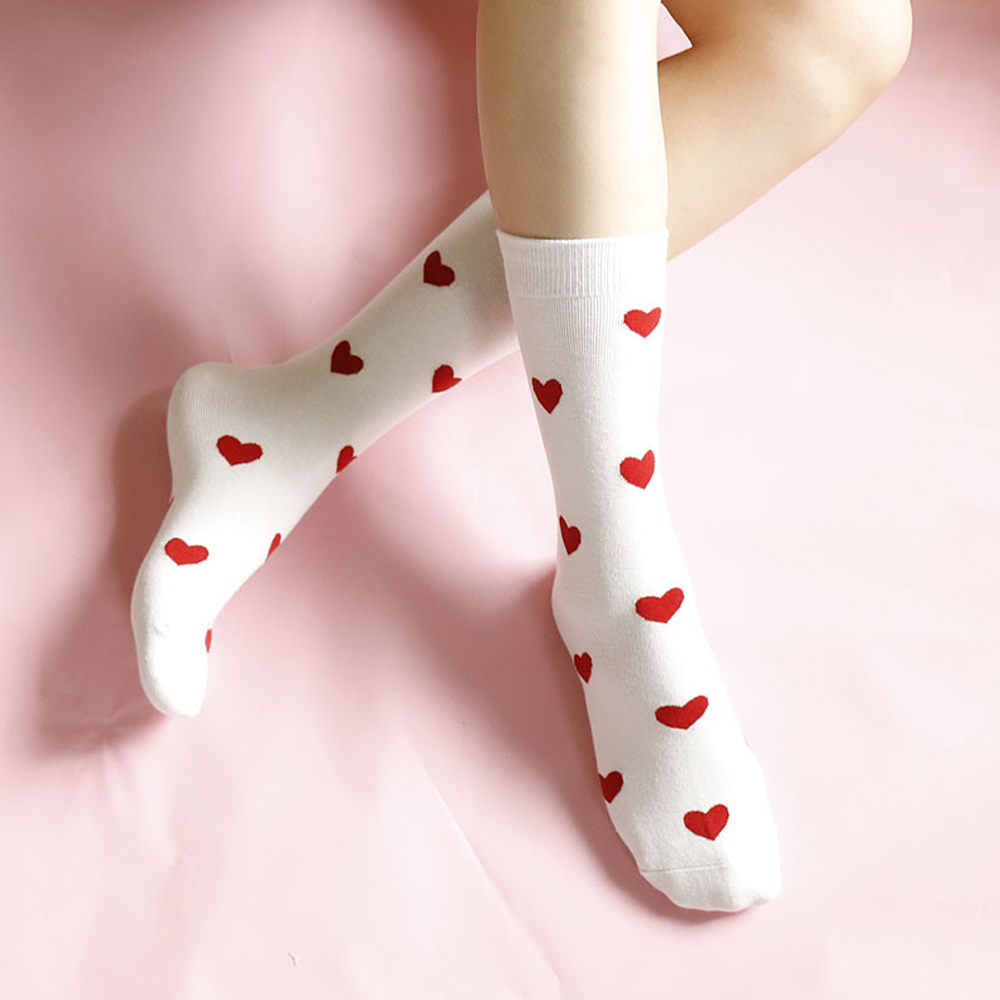 1 Pair Autumn And Winter Long Tube College Wind Female Socks Women Sweet Heart Socks Women Long Tube Cotton Socks