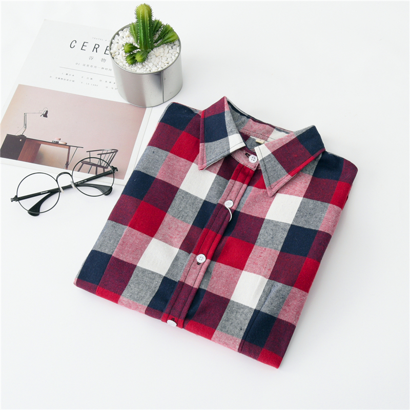 2020 New Women Blouses Brand New Excellent Quality Cotton 32style Plaid Shirt Women Casual Long Sleeve Shirt Tops Lady Clothes 35