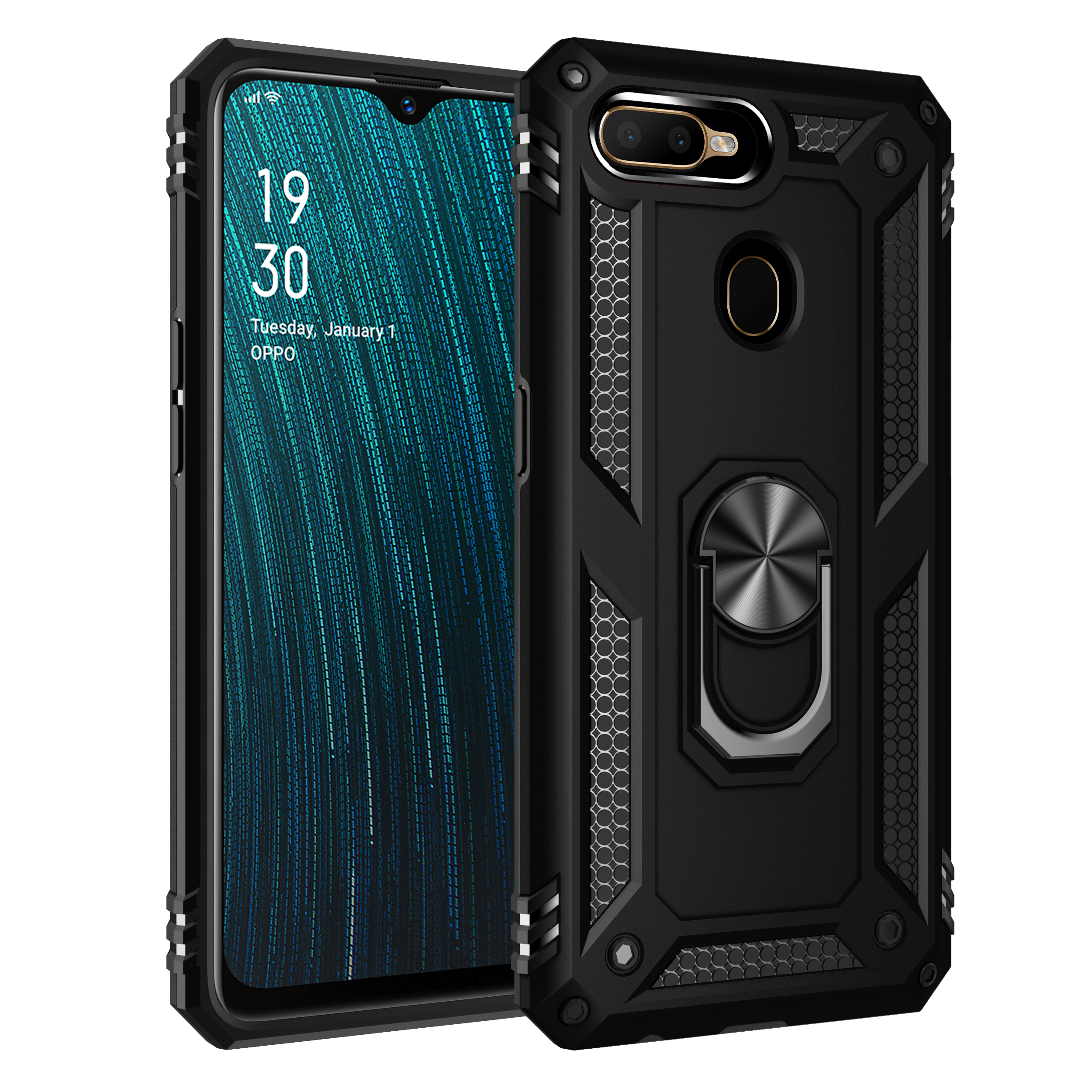 For OPPO A5S AX5S A7 Heavy Duty Tough Rugged Armor Kickstand Case For OPPO A5 A3S