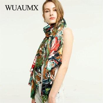 Wuaumx Autumn Winter Scarf Women Double Sided Print Scarf Multicolor Circle Women's Scarves Tassel Cotton Large Size Shawl Wraps недорого