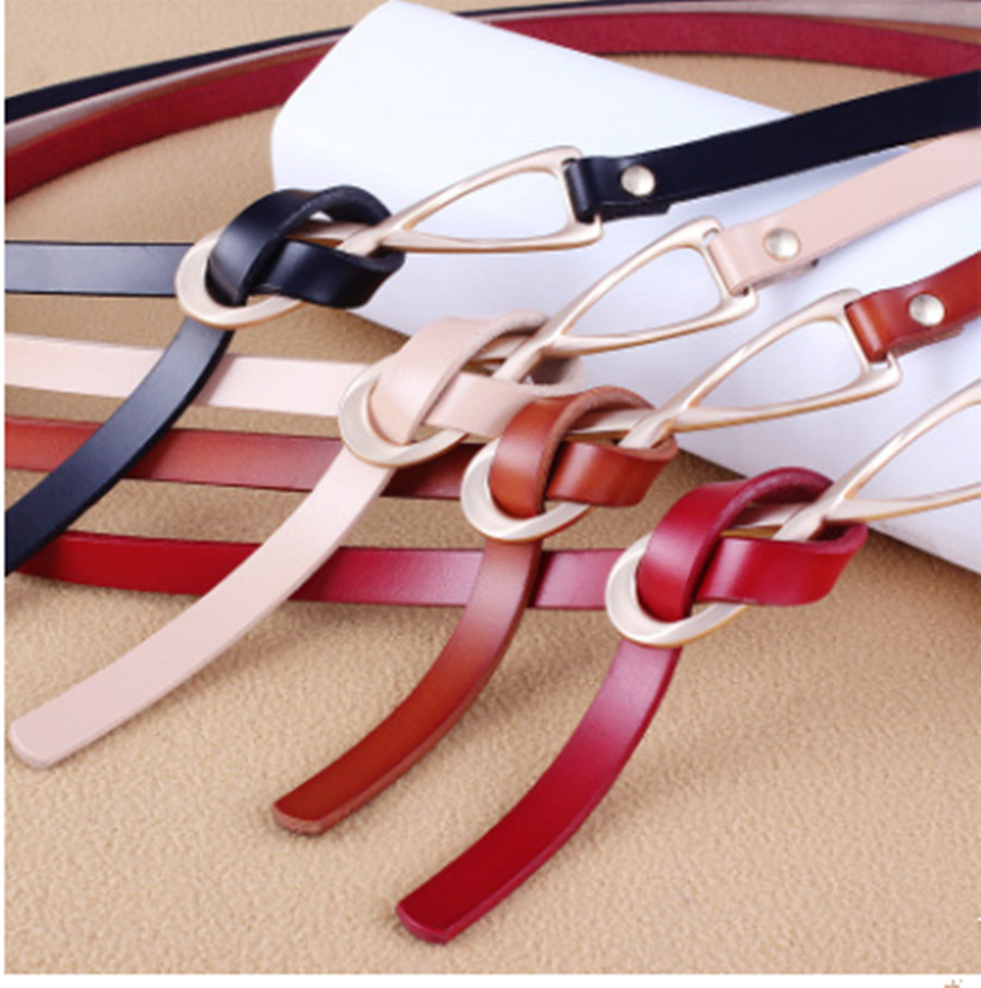 Explosion Style Women Fashion Korean Knotted Leather Small Belt Two Layers Leather Thin Belt Multicolor Belt
