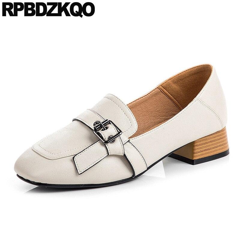 Womens Ladies Italian Design Fashion Apricot Chunky High Heel Slip Shoes Size