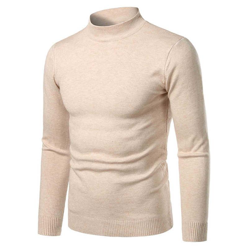 남성 하이 넥 캐시미어 니트 가을 겨울 두꺼운 따뜻한 터틀넥 스웨터 남성 슬림 풀오버 캐주얼 솔리드 롱 슬리브 탑스