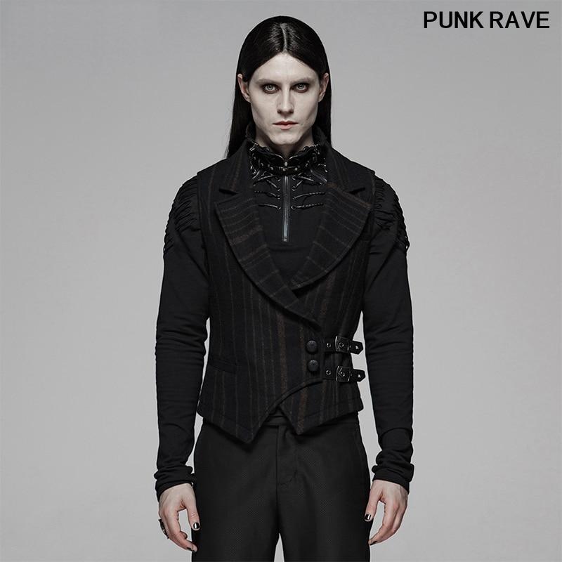 Steampunk Sleeveless Party Club cool Men Waistcoat Military Uniform Striped Wool Real Pockets Gentleman vest Punk Rave Y-1093